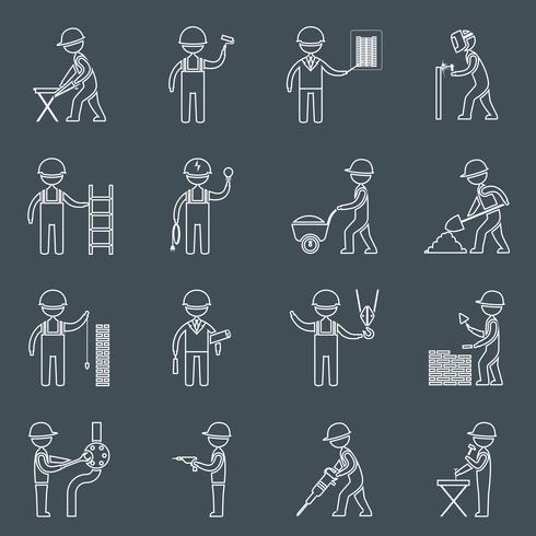 Esquema de los iconos de trabajador de construcción