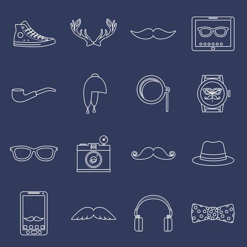 Conjunto de ícones hipster contorno