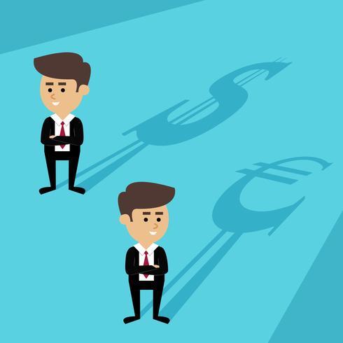 Hombres de negocios sombra de la moneda vector