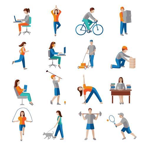 Ícones de atividade física vetor