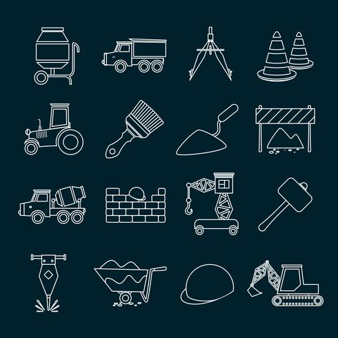 Construction icons set outline