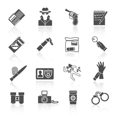 Conjunto de ícones de detetive preto