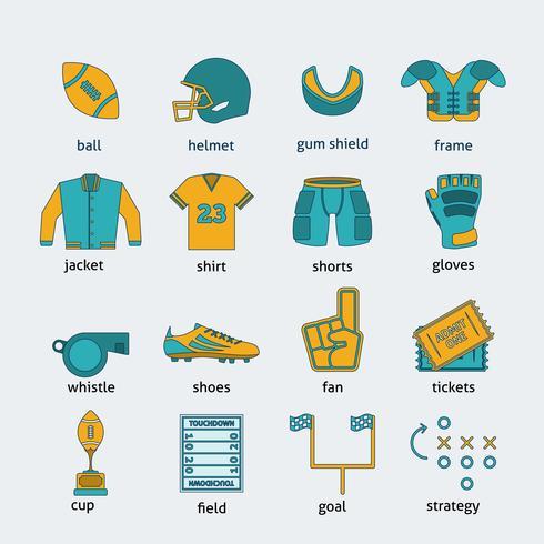Conjunto de ícones plana de Rugby vetor