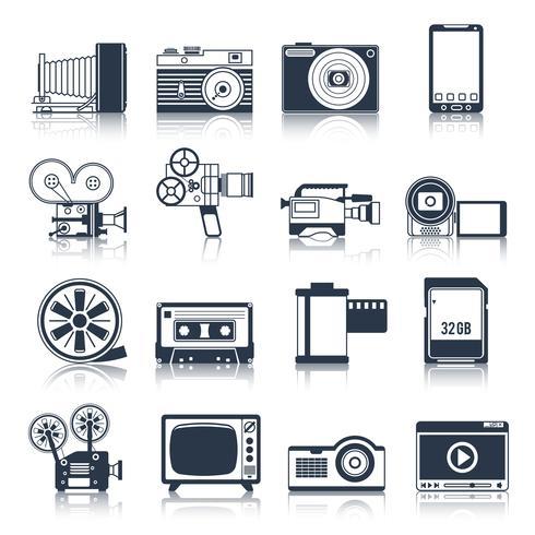 Foto video iconos conjunto negro