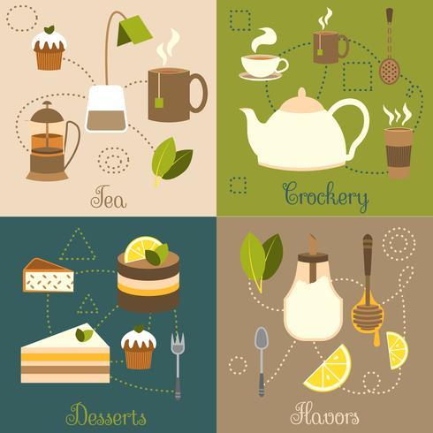 Set de té plano vector