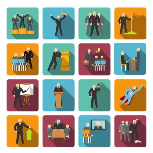 Icônes de leadership à plat