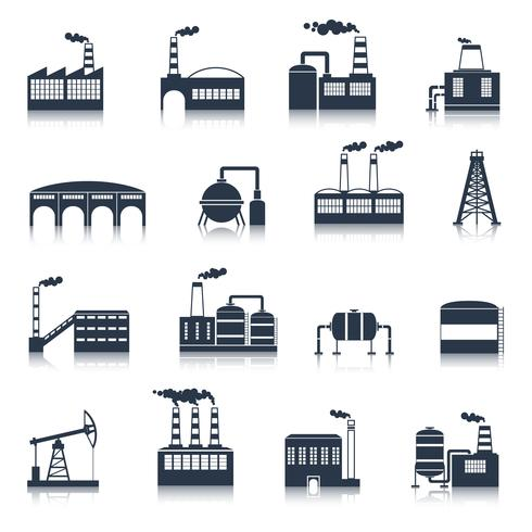 Industrial building icons black