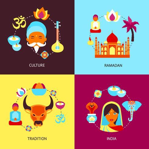 India platte set vector