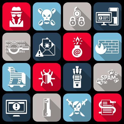 Hackersymboler som är platta