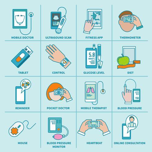 Digital health icons set flat line