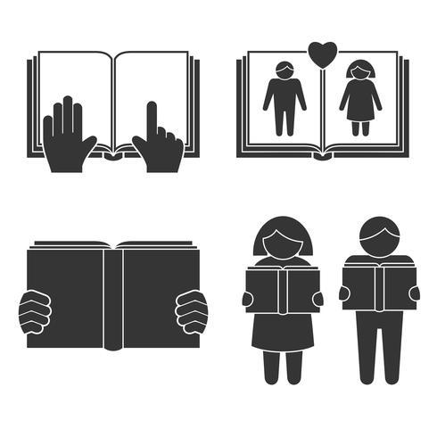 Livro, leitura, ícones, jogo