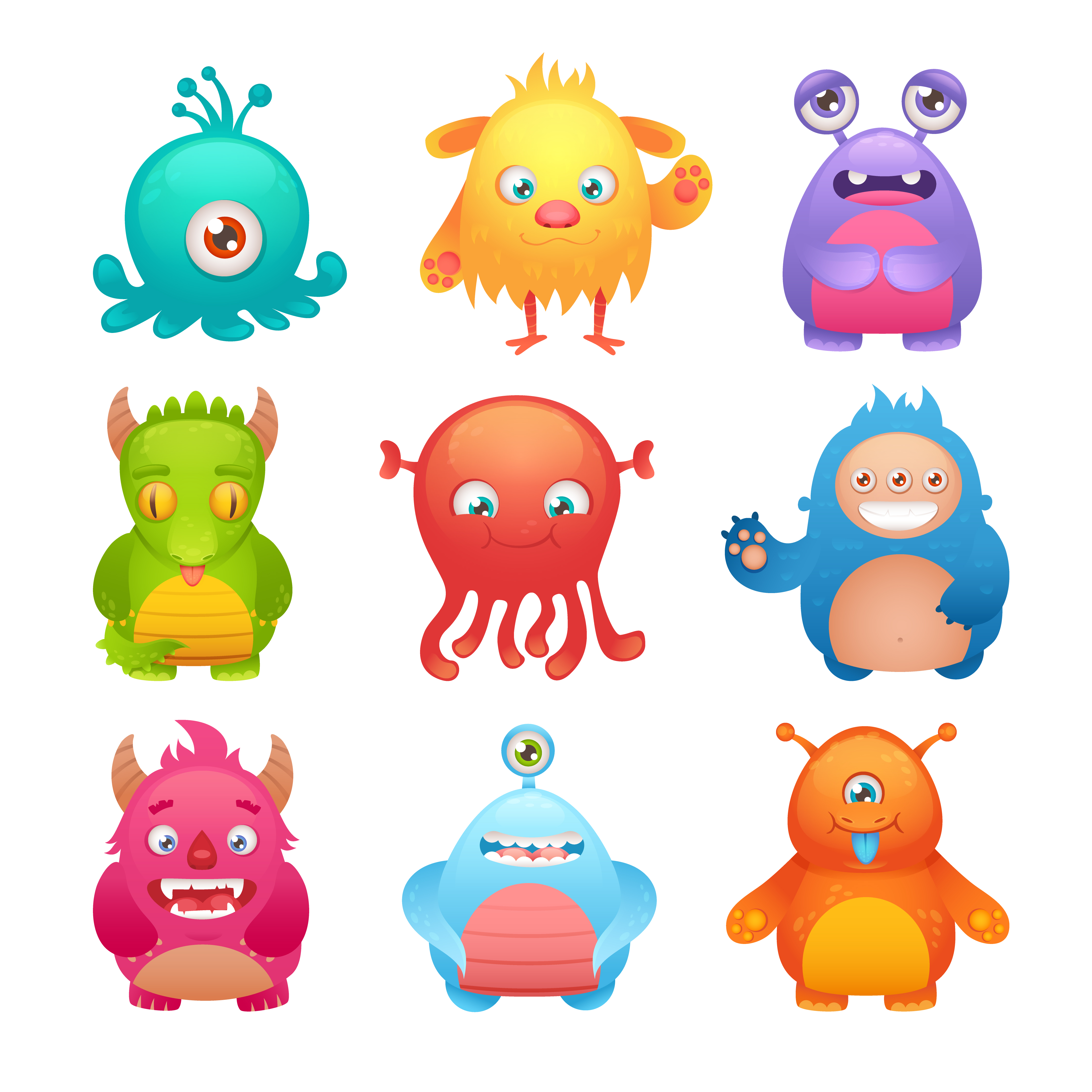 monsters cute cartoon alien vector funny illustration monster aliens character characters icons isolated clipart vectors drawing scary premium flat clip