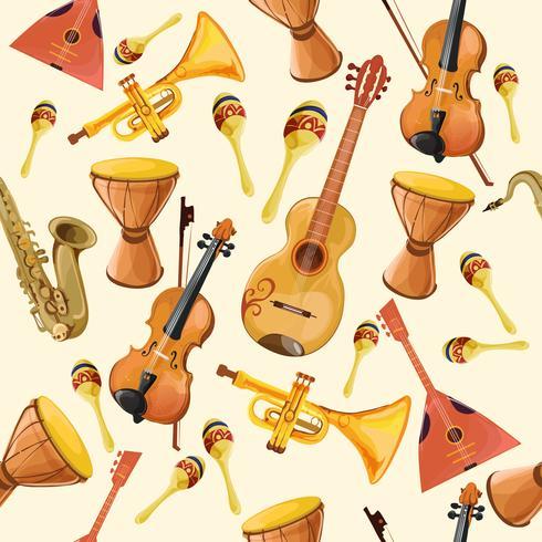 Padrão sem emenda de instrumentos de música