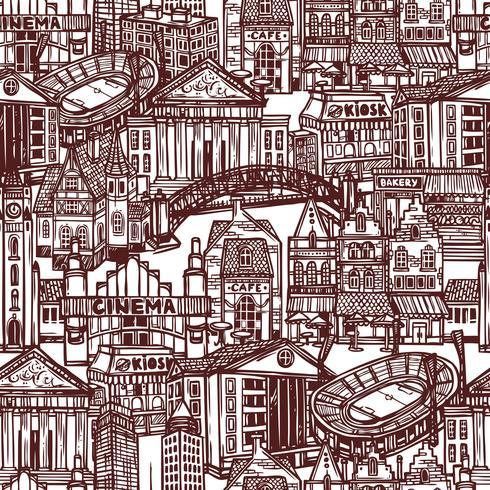 Sketch City sömlöst mönster