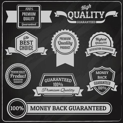 Lavagna con etichette di qualità