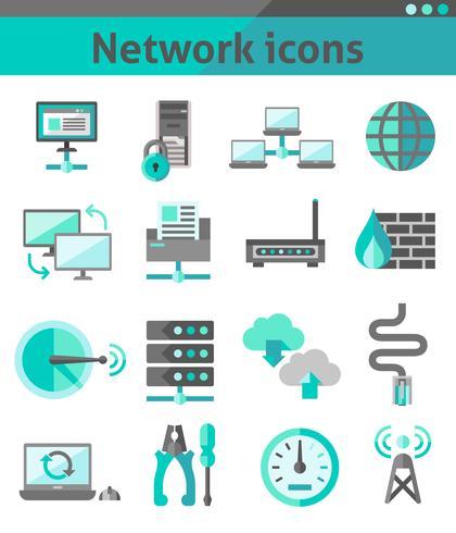 Nätverksikoner inställda vektor