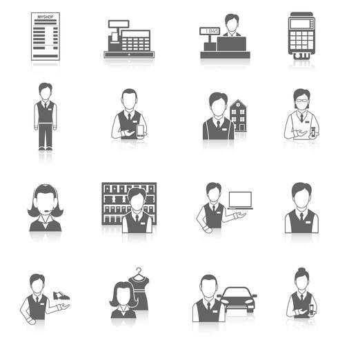 Set Icons Verkäufer schwarz