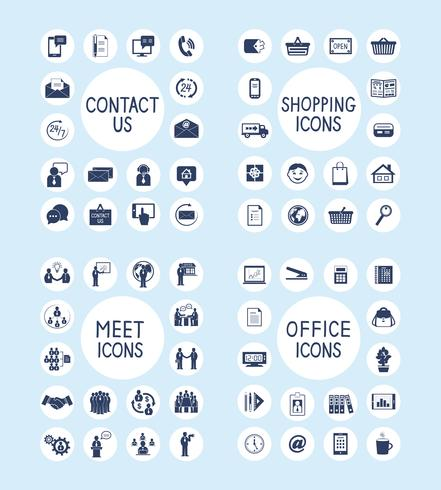 Internet Business Office et Shopping Icons Set