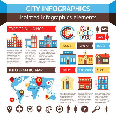 Conjunto de infografías de la ciudad. vector