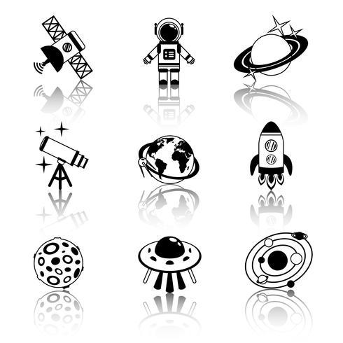 Conjunto de iconos de espacio blanco y negro