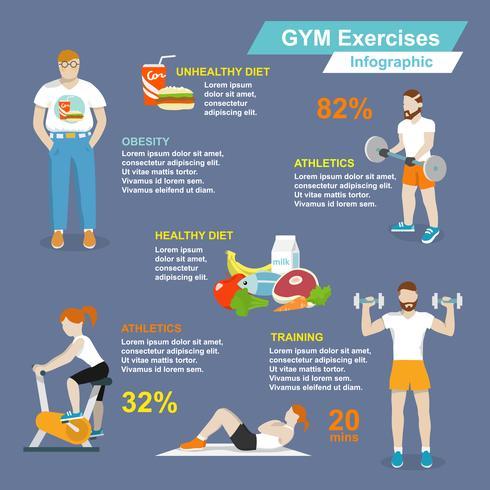Esporte de ginásio exercícios infográfico