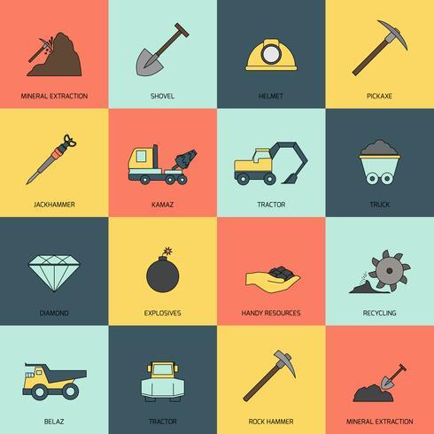 Línea de iconos de minería plana vector