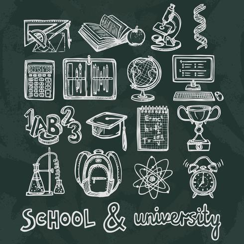 Schoolonderwijs schoolbord pictogrammen