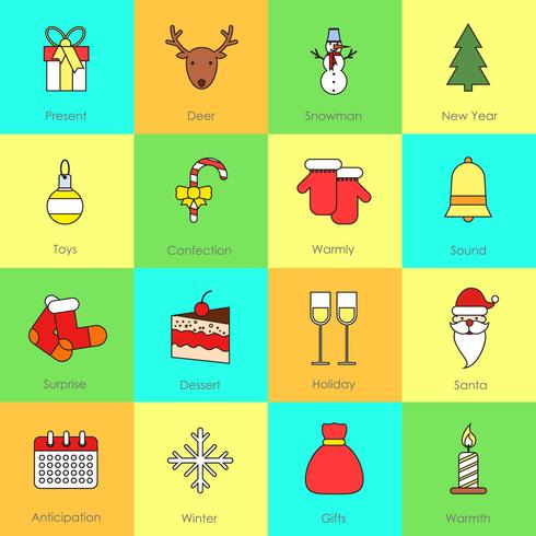 Jul ikoner sätta fast linje vektor