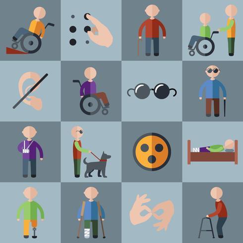 Conjunto de ícones com deficiência vetor