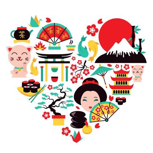 Cuore di simboli del Giappone vettore