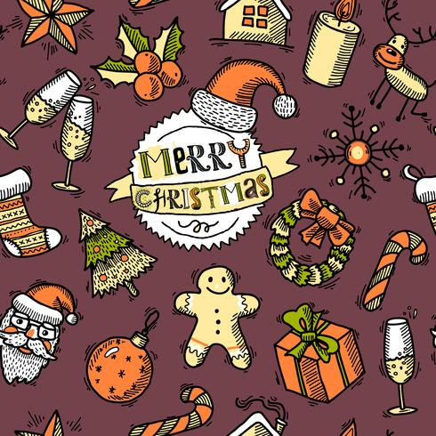 Christmas colored seamless pattern vector