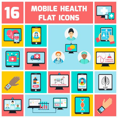 mobil hälsa ikoner uppsättning