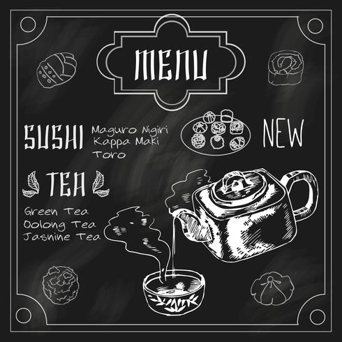 Japanese teapot and cup blackboard