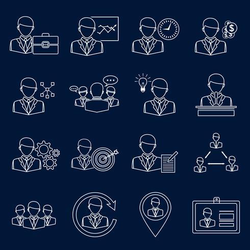 Contour d'icônes de commerce et de gestion vecteur