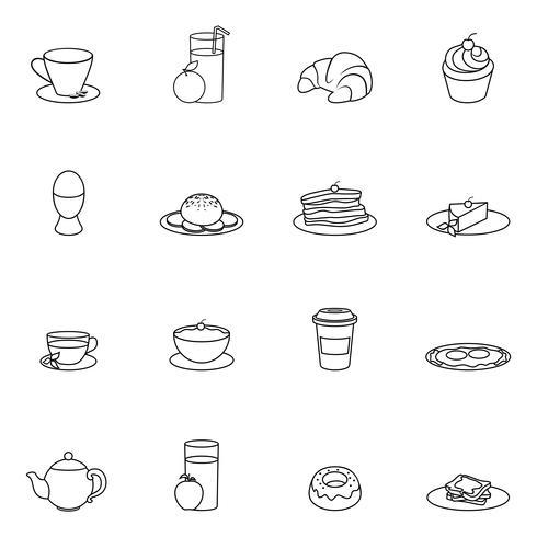 Contorno de ícone de café da manhã vetor