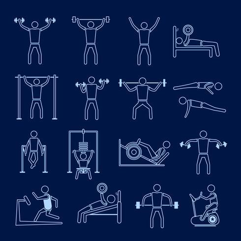 Icone di allenamento allenamento impostare contorno