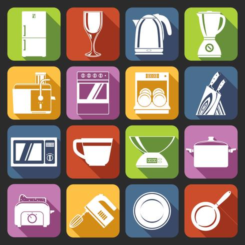 Kitchen appliances icons white