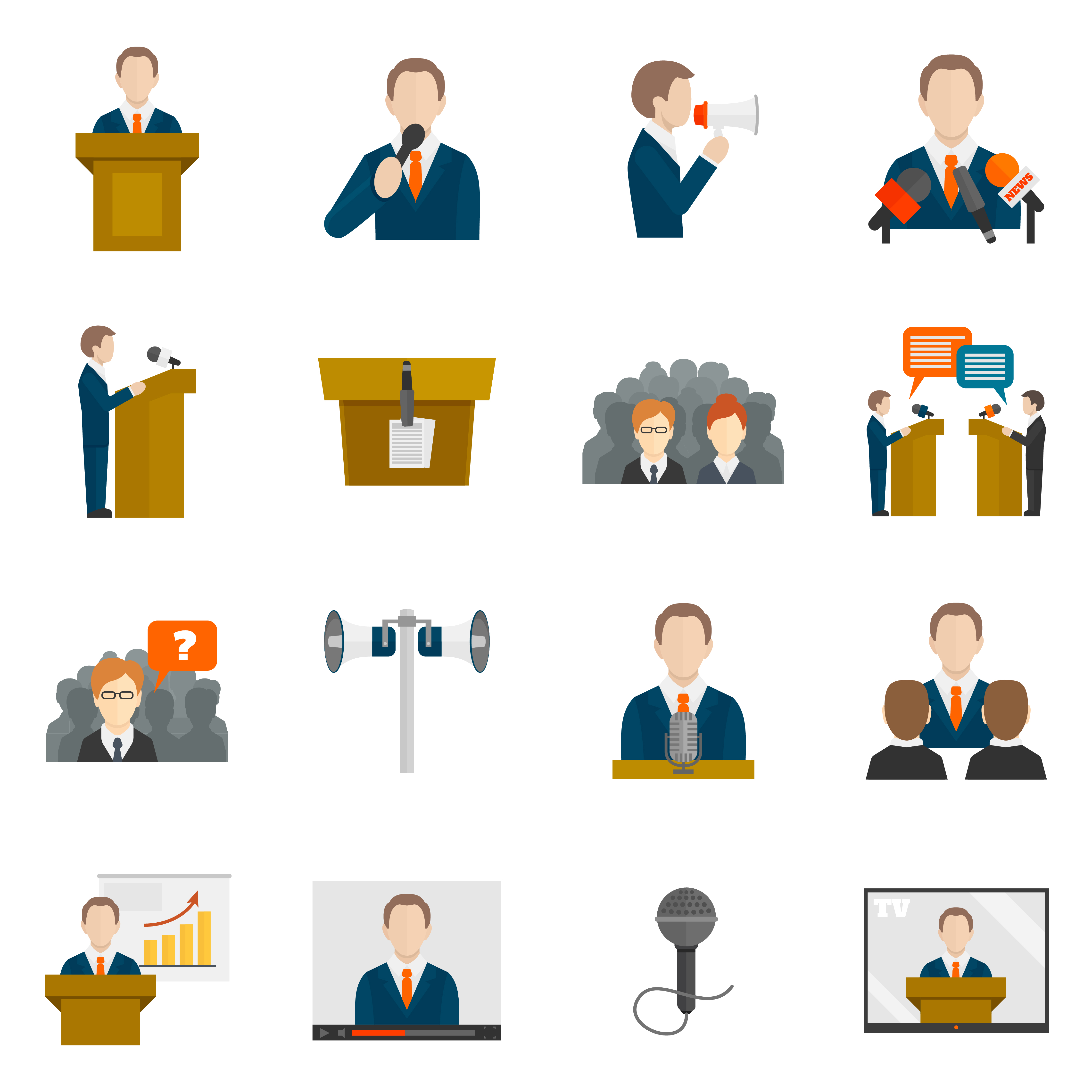 Public speaking icons - Download Free Vectors, Clipart ...