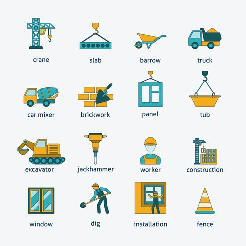 Construction icons flat line set vector