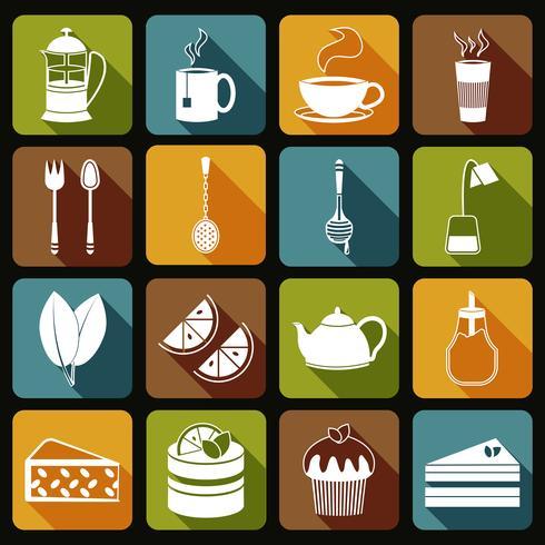 Conjunto de ícones de chá liso