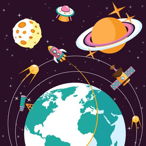 Space flat illustration vector