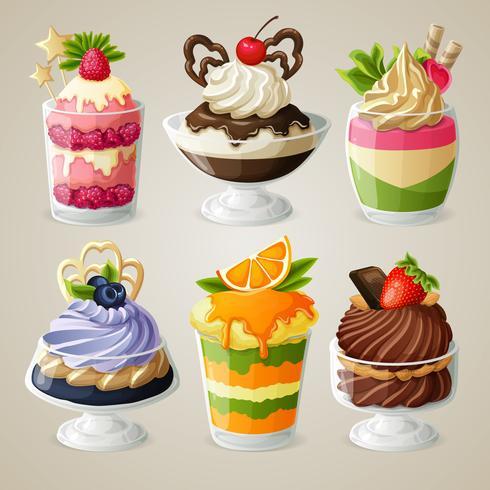 Juego de postres mousse helado de dulces vector