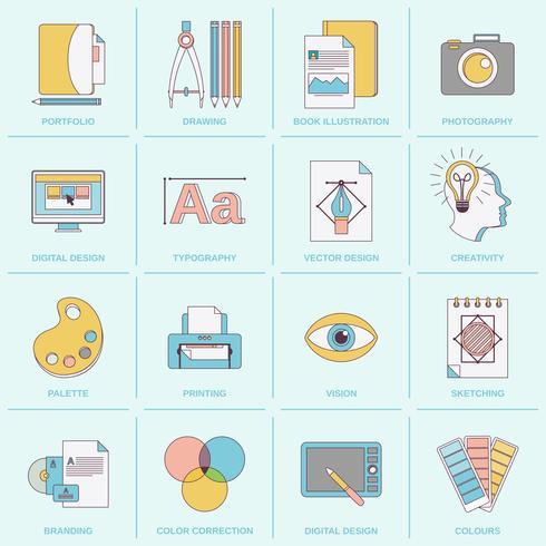Grafisk design ikoner platt linje