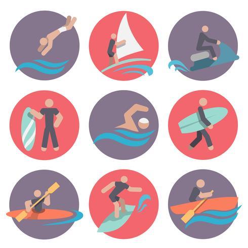 Conjunto de ícones de esportes de água planas