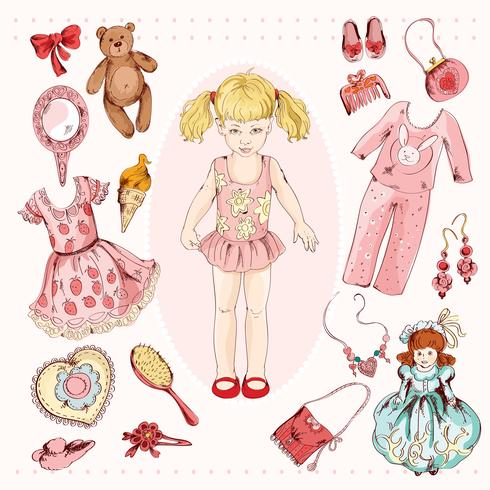 Little girl character accessories set