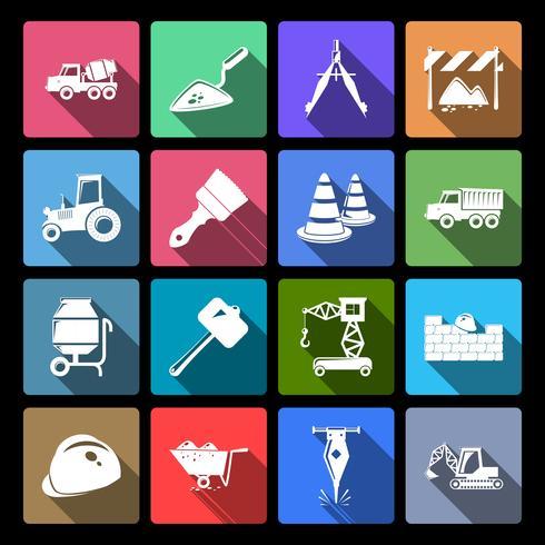 Construction Icons Set Flat vector