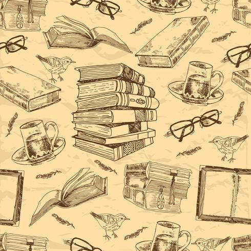 Modèle sans couture de livres vintage