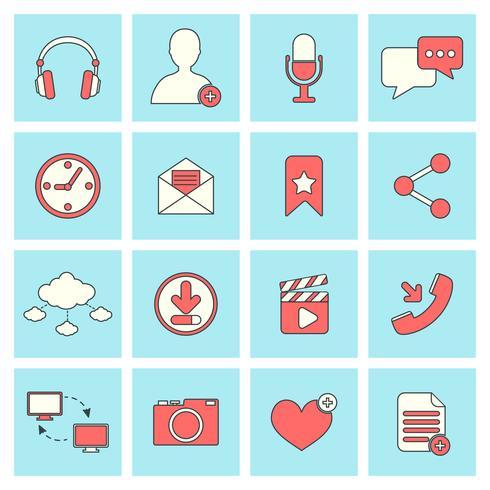 Linea piatta di icone di rete sociale vettore
