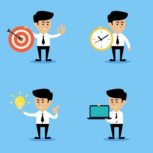 Conjunto de conceptos de empresario vector