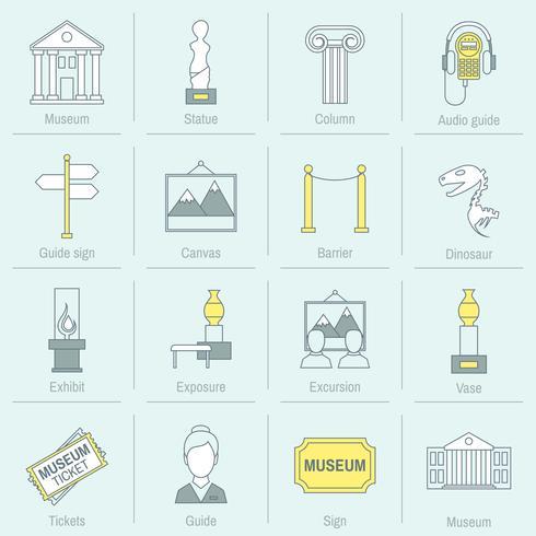 Línea plana de los iconos del museo vector